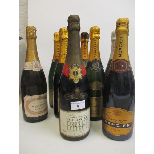 9 - Nine mixed bottles of Champagne to include 1970 Bollinger 1.1...