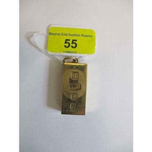 55 - A 9ct gold ingot, Sheffield 1976, 61.19gms...
