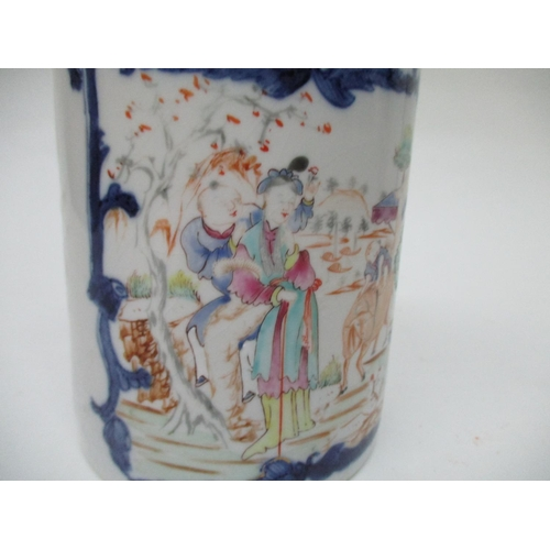 17 - A late 18th century Chinese export tankard of cylindrical form, decorated with a panel of figures an...