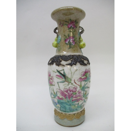 9 - A late 19th century Canton famille rose crackle glazed vase of ovoid form with a flared neck, gourd ...