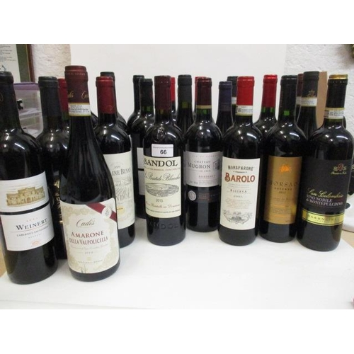 66 - A selection of twenty four bottles of mixed reds to include Bordeaux, Bandol 2013 Location RWB...