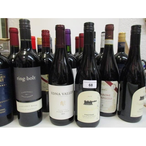 68 - Twenty four bottles of mixed reds to include Pinot Noir, Cabernet Sauvignon Location RAF...