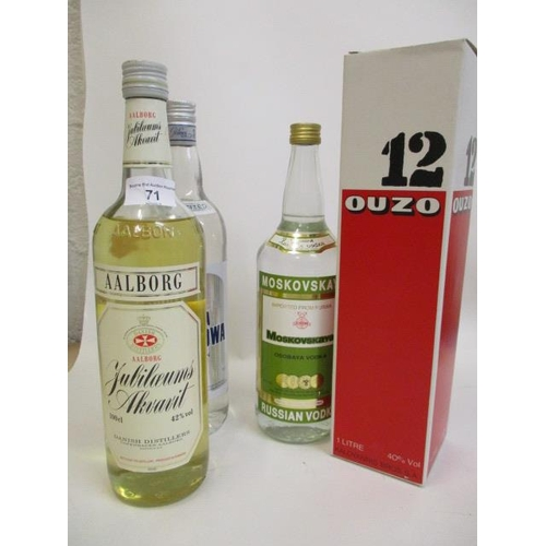 71 - Four bottles of mixed spirits to include Ouzo, Russian Vodka Location 4.2...