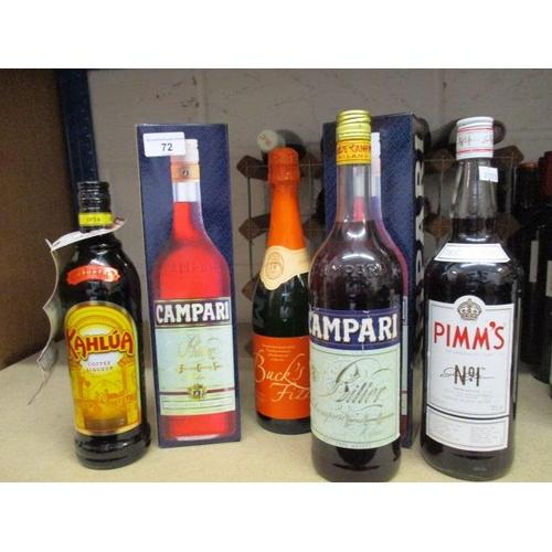 72 - Three bottles of Campari, one bottle of Kahlua Coffee Liqueur, one bottle of Pimms and one bottle of...