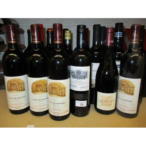 73 - Twenty four mixed reds to include Malbec 2014 and Shiraz Location 4.3...
