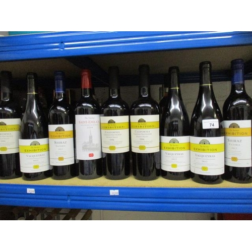 74 - Nine bottles of Societys Exhibition Wine to include Cabernet Sauvignon and St Emilion Location 9.4...