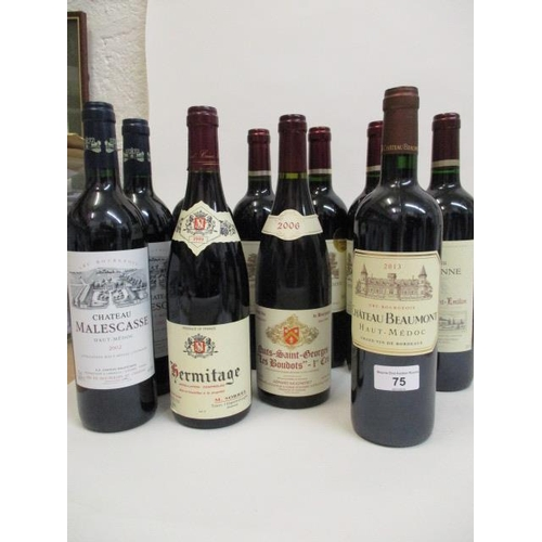 75 - Ten bottles of mixed red to include Chateau Beaumont Haut-Medoc 2015 Location RWM...