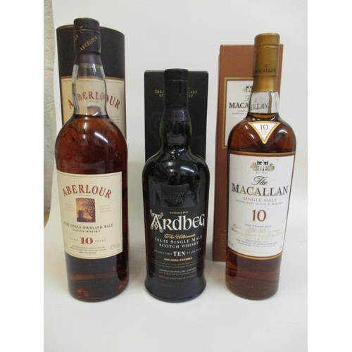 81 - Three bottles of Scotch Whisky to include Aberlour, Ardbeg, Macallan Location 9.2...