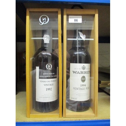 86 - Two bottles of boxed vintage port to include Warres 1994 and Quinta Nava De Nossa 1992 Location RAM...