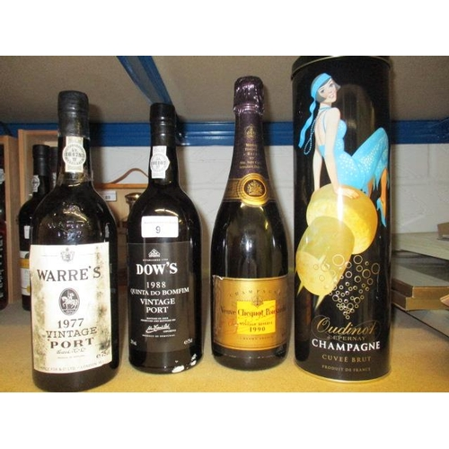 90 - One bottle of Warres 1977 Vintage Port, a bottle of Dows 1988 Vintage Port and two bottles of Champa...