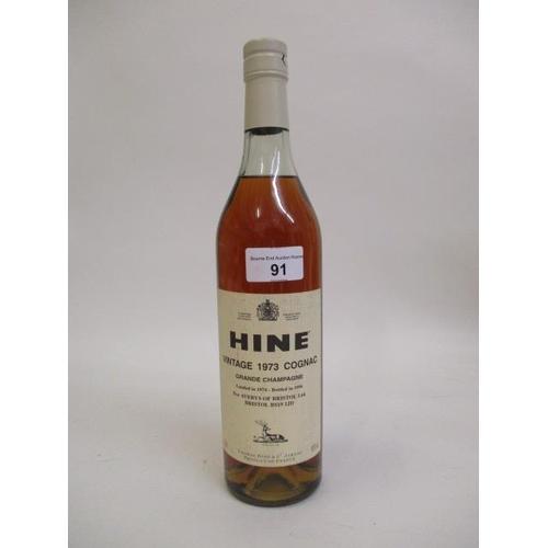 91 - One bottle of Hine Vintage 1973 Cognac Location 6.1...
