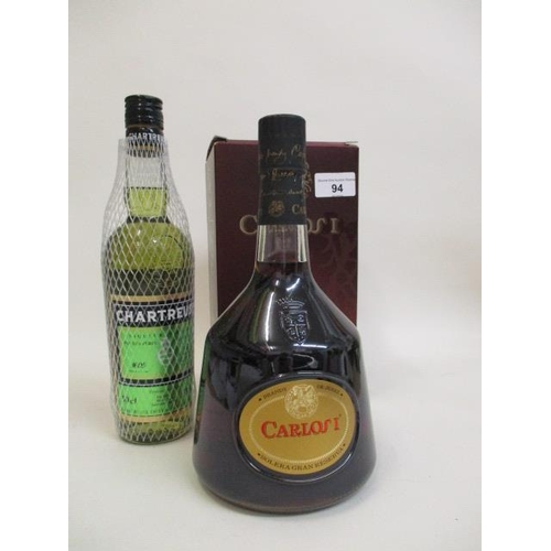 94 - One bottle of Chartreuse and one bottle of Carlos 1 XO Brandy 12 Location SL...