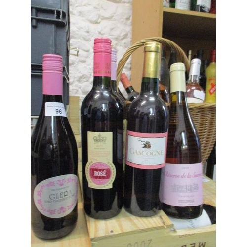 96 - Ten mixed bottles of Rose wine to include Glera Location RAM...