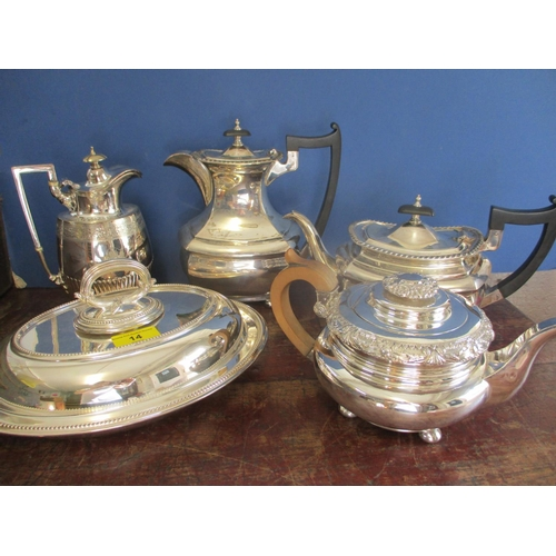 14 - Silver plate to include a teapot, a hot water jug and an entree dish and a late 20th century Kahla b...