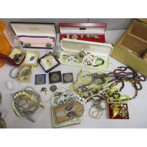 2 - Costume jewellery and coins to include an African Republic two shilling, a 9ct gold cross pendant an...