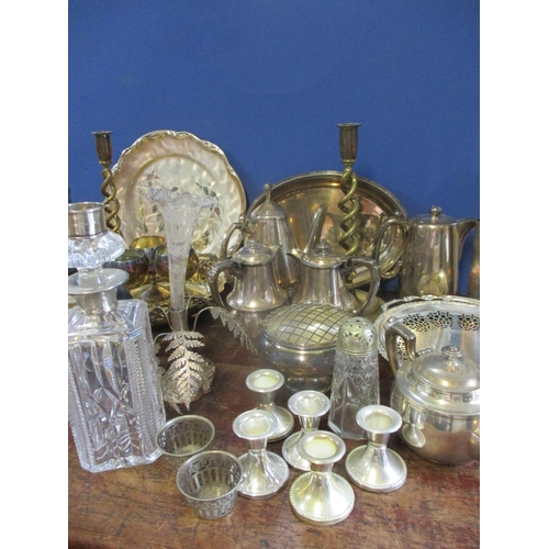 26 - Mixed metalware, mostly silver plate to include a hot water pot, a Victorian silver plated epergne, ...