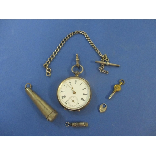 31 - A late 19th century silver pocket watch with T-bar pocket watch chain and other items...
