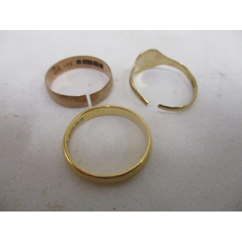 4 - Two 9ct gold rings 3.4g A/F and a 22ct gold band, 3.6g...