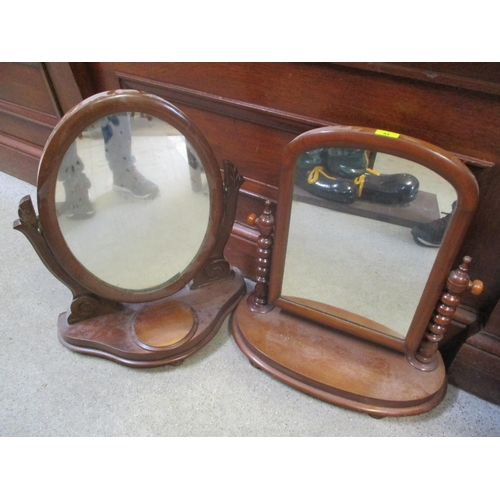44 - Two 19th century mahogany dressing table swing mirrors...