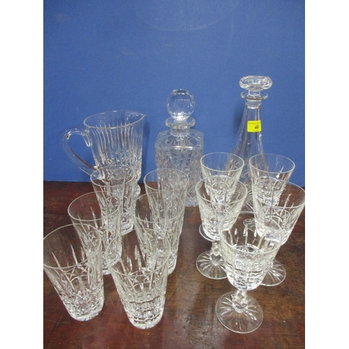 46 - A set of six Waterford crystal water/hiball glasses, a set of five Waterford crystal white wine glas...
