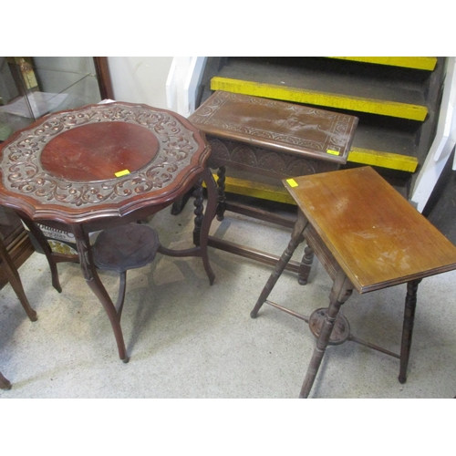 48 - Three late 19th century occasional tables to include a two tier mahogany carved table...