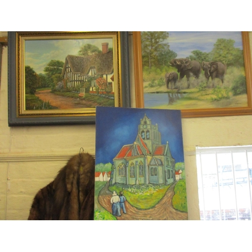 34 - Three oil paintings to include a study of elephants, a view of a church and a view of a cottage...