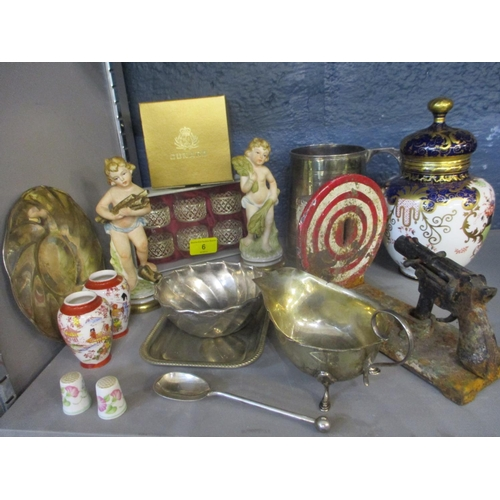 6 - Silver, silver plate and ceramics to include a silver plated tankard, a silver sauce boat, a pair of...