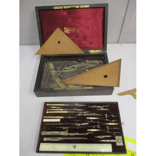 10 - Late 19th century drawing instruments to include an ivory ruler and bone handled examples, contained...