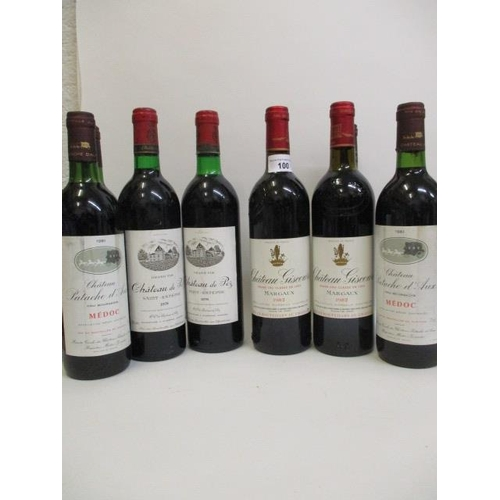 100 - Eight bottles to include four bottles of Chateau Patache d'Aux Medoc, two bottles of Chateau Giscour...