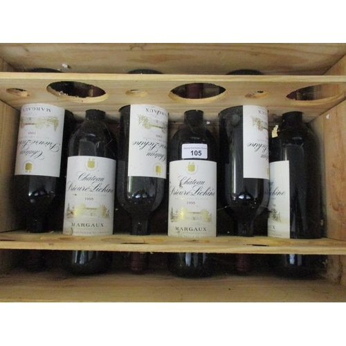 105 - Six bottles of Prieurie-Lichine Margaux 1995 Location SL