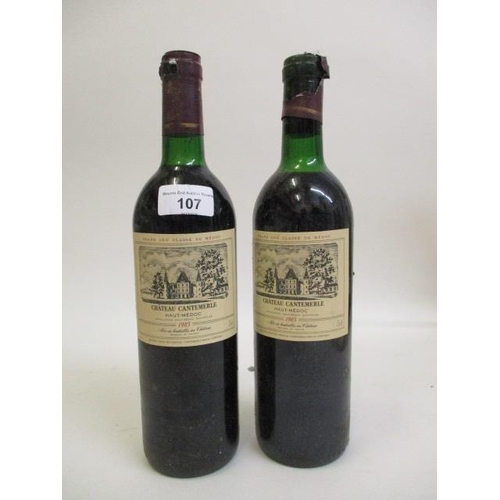 107 - Two bottles of Chateau Cantemerle Haut Medoc 1985 Location 9.1