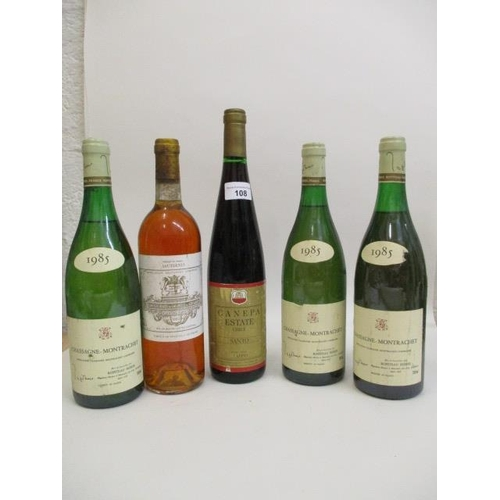 108 - Five bottles to include three bottles of Montrachet Chassange, Ropiteau Freres, a bottle of Chateau ...