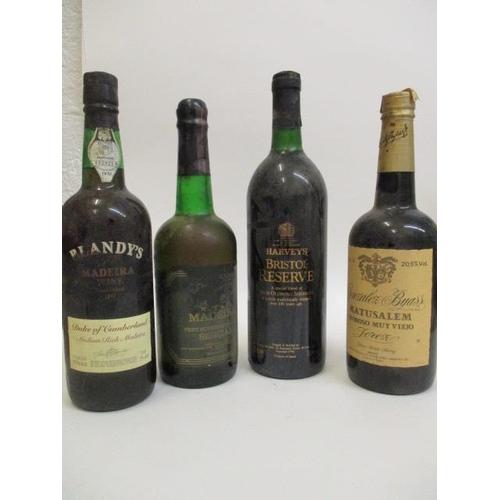 109 - Four bottles to include Mederia Sercial, Blandy's Maderia, Duke of Cumberland, medium rich, Harvey's...