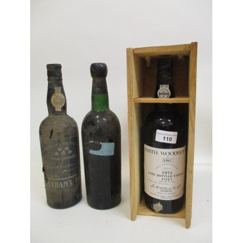 110 - Three bottles of Port to include Grahams Five Crowns Port, Smith & Woodhouse Late Bottled Vintage 19...
