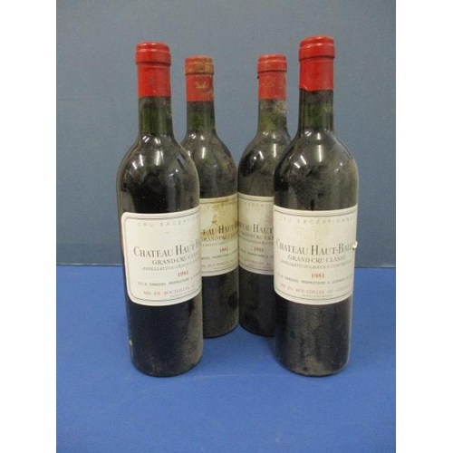 111 - Four bottles of Chateau Haut Bailly, Grand Cru Classe 1981 Location 10.1