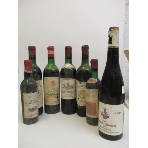 113 - Seven bottles to include Weingut Jurgen Wurth, Niersteiner 1945, two bottles of Chateau Gran-Puy Duc...