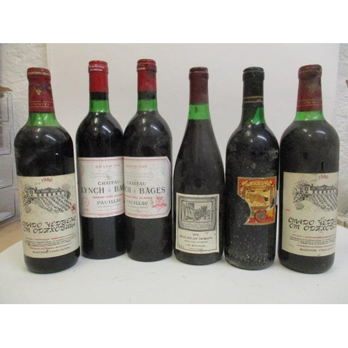 116 - Six bottles to include Morgon, Berry Bros 1978, two bottles of Lynch Bages, Pauillac 1978, Marques d...