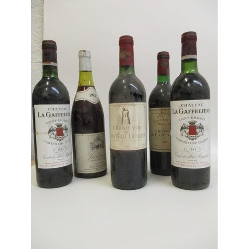 119 - Six bottles to include Chateau de Couvent, 1983, Chateau Latour, Pauillac, 1983, two bottles of Chat...