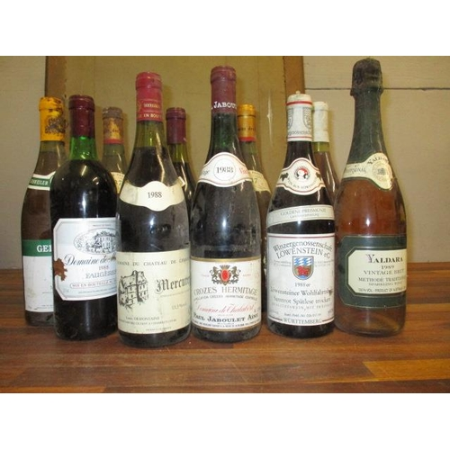 122 - Ten bottles to include two bottles of Jean Pabiot, Puilly Fume 1987, a bottle of Redwood Valley Esta...