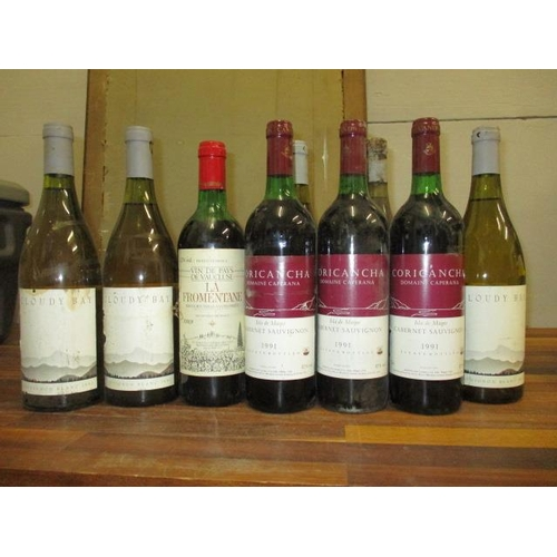 124 - Ten bottles to include La Fromoutaine, Vacluse 1989, two bottles of Cloudy Bay, S-B, three bottles o...
