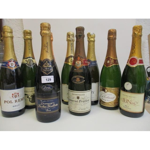 129 - Nine bottles of Champagne by mixed producers to include Laurent Perrier & Lanson Location 11.4
