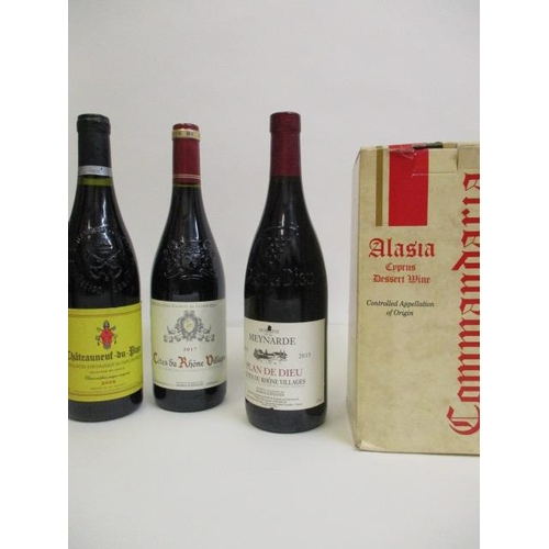 132 - Commandaria Dessert wine and two bottles of Cotes du Rhone and one bottle of Chateauneuf du Pape Loc...