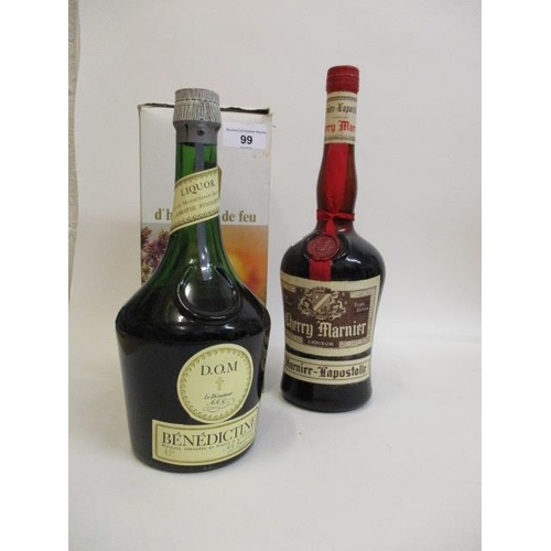 99 - A bottle of Cherry Marnier liqueur and a boxed bottle of Benedictine liqueur Location LAM