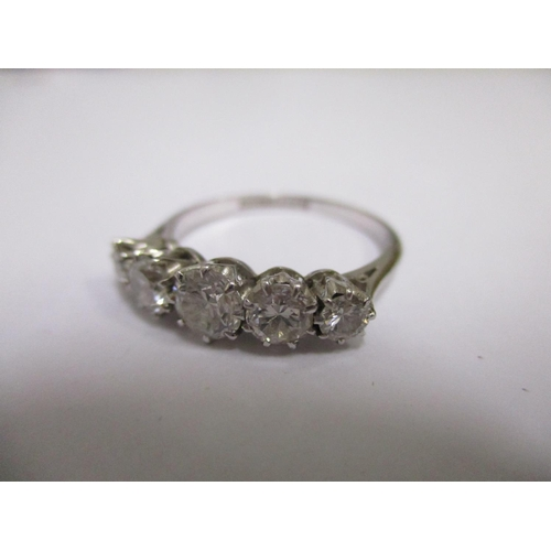 10 - A platinum five stone diamond ring, total approximately one carat, stamped AWC & S plat.  Total weig...