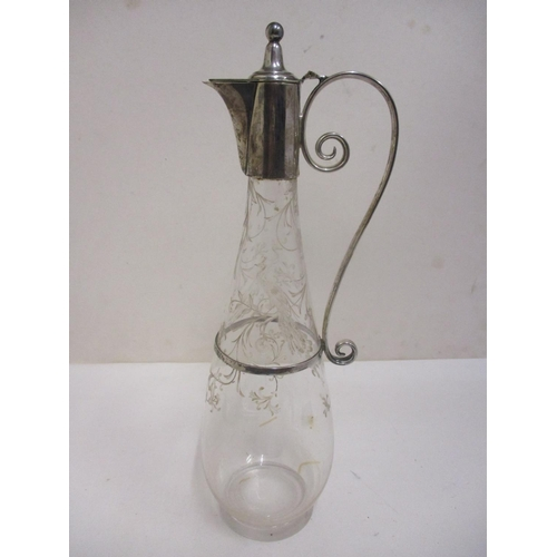 18 - A silver mounted and finely engraved glass claret jug, by Richard Martin and Ebenezer Hall & Co Shef...