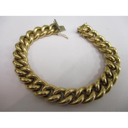 2 - An 18ct gold heavy hollow linked belcher link bracelet, 37g, 8