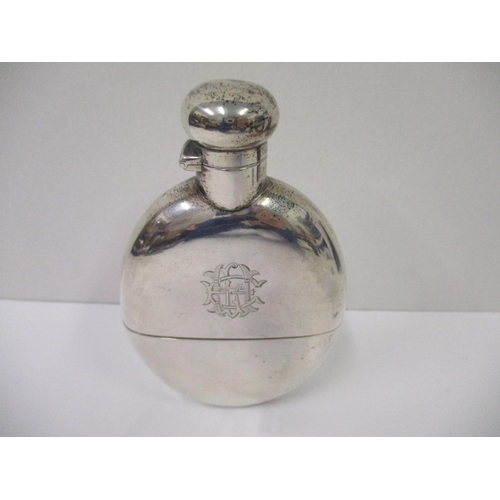 23 - A Victorian silver monogrammed hip flask by Deakin & Francis Ltd, Birmingham 1887 of oval form with ...