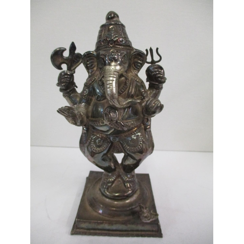 30 - A 20th century Indian white coloured metal statuette of Ganesh, total weight 509.20g, 6 3/4
