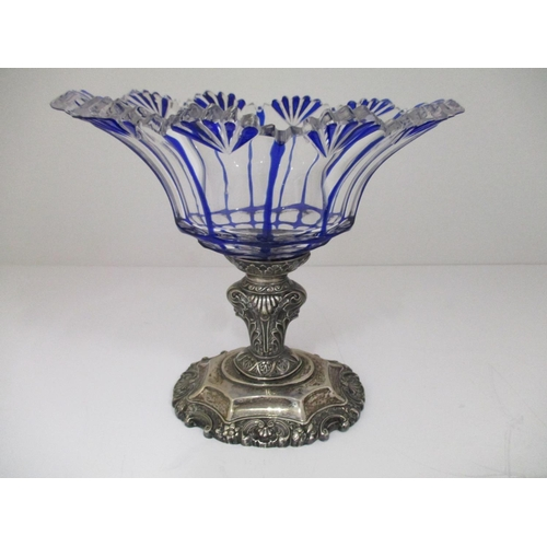 37 - LOT WITHDRAWN - A late 19th century, possibly French blue, clear glass and silver sweetmeat dish wit...