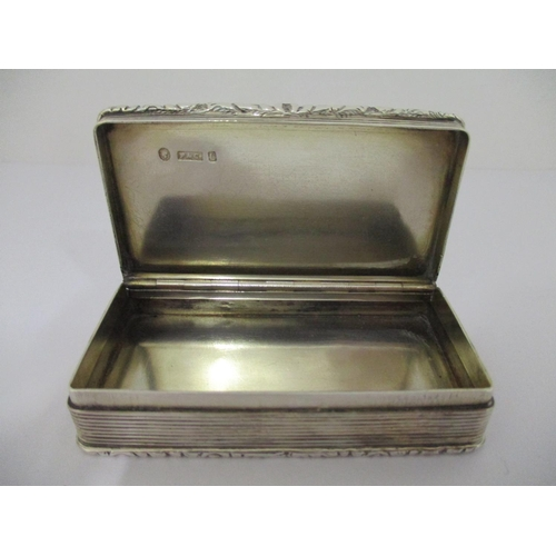 41 - A Victorian silver snuff box, by Foxall & Co Birmingham 1851, of rectangular form with an inscriptio...